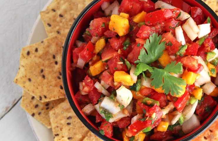 Homemade Salsa with Tomatoes and Mango