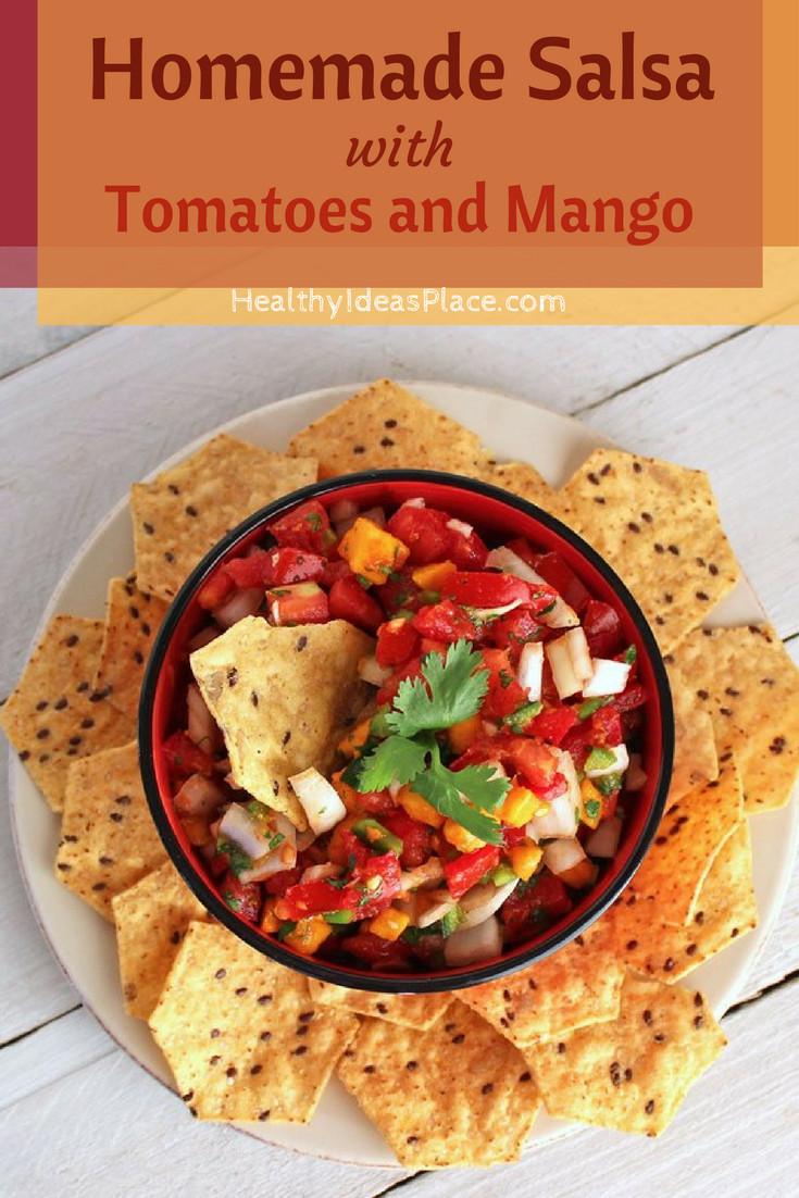 Homemade Salsa with Tomatoes and Mango - Fresh tomatoes and mango make ahealthy, savory-sweet salsa with lots of flavor and a touch of heat.