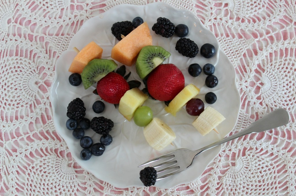 Fruit Kebabs with Honey-Lime-Ginger Vinaigrette plated