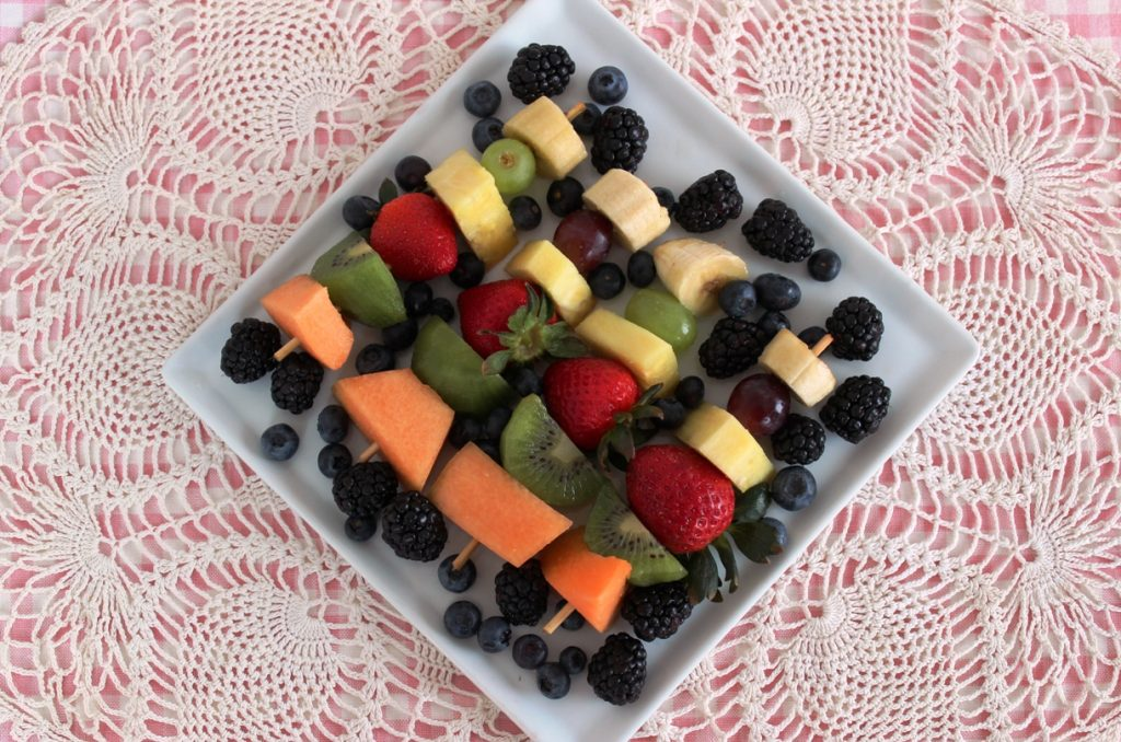 Fruit Kebabs with Honey-Lime-Ginger Vinaigrette