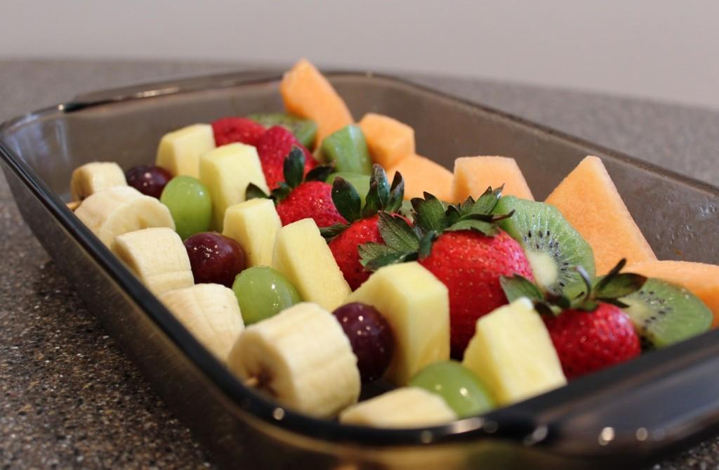 Fruit Kebabs with Honey-Lime-Ginger Vinaigrette in pan