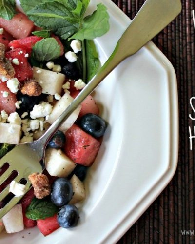 Watermelon and Blueberry Salad with a Hint of Mint