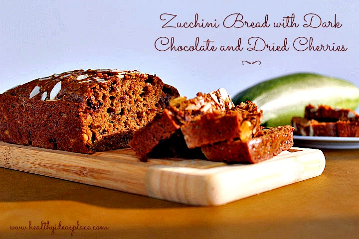 Zucchini Bread with Dark Chocolate and Dried Cherries 2b