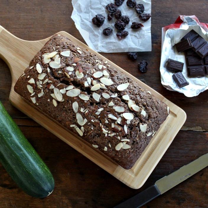 zucchini bread with dark chocolate and dried cherries