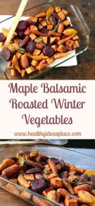 Maple Balsamic Roasted Winter Vegetables - Creamy sweet potatoes, chewy beets, and tender carrots are lightly glazed with the rich flavors of maple syrup and balsamic vinegar for a delicious side dish elegant enough for any holiday table.