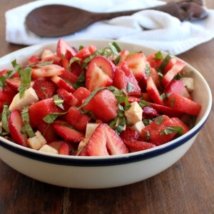 Strawberry Watermelon Caprese Salad is a nourishing, flavorful, summertime salad with fresh from the garden strawberries, watermelon, and basil.