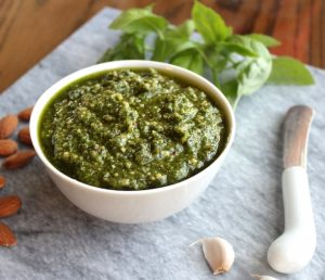 Basil Pesto with Almonds - Tasty and filled with healthy fats, you can stir it into pasta, or use as a marinade, dip, or spread for sandwiches and wraps.