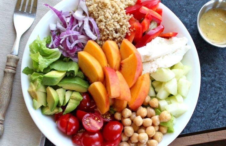Summer Salad Bowl with Peach Basil Vinaigrette