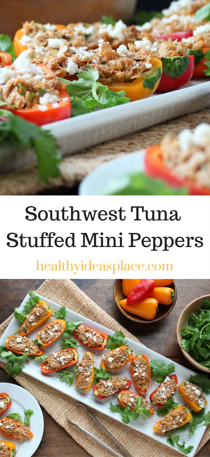 Southwest Tuna Stuffed Mini Peppers - a healthy appetizer that's quick and easy to make, but filled with flavor and touch of heat!