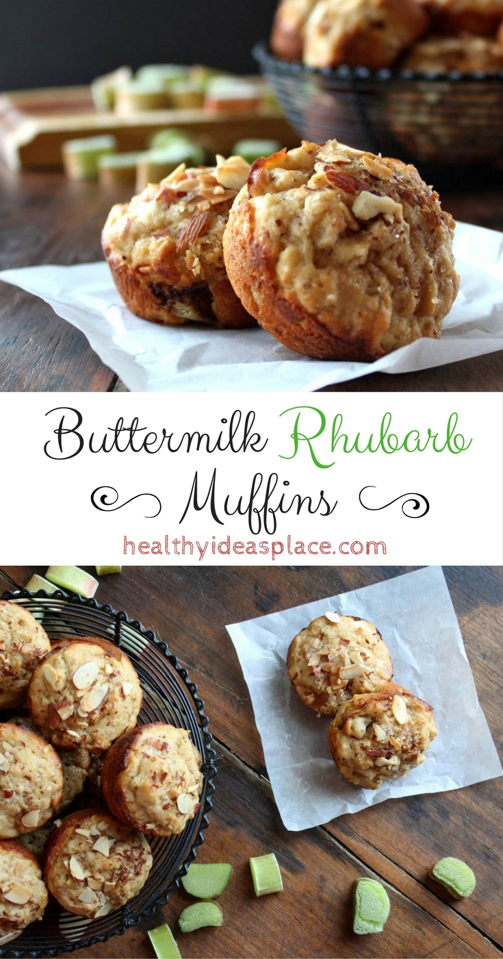 Buttermilk Rhubarb Muffins are easy to make and delicious, each tender bite popping with the sweet and sour flavors of rhubarb.