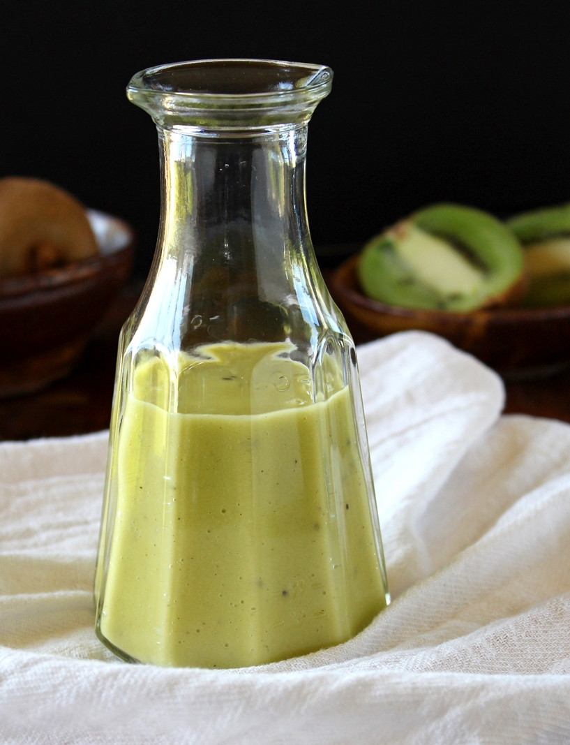 Fresh Kiwi Vinaigrette, easy to make with no added sugar of any kind, is a sweet, tangy vinaigrette perfect for topping your next salad.