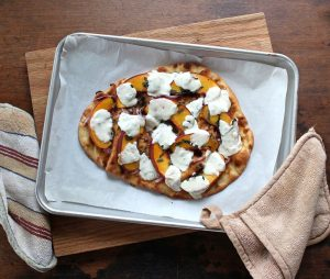 Naan Pizza with Peaches, Basil, and Fresh Mozzarella - Easy to make and healthy, Naan bread is topped with peaches, basil, and fresh mozzarella. Delicious!