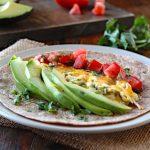 Breakfast Burrito with Eggs, Tomato, and Avocado