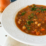 Vegetable lentil Soup in a bowl