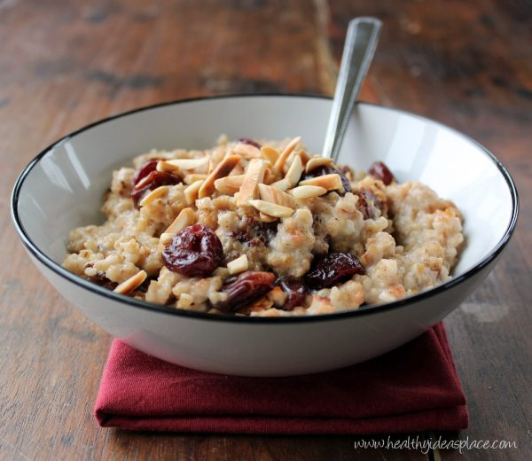 Cherry Vanilla Overnight Oats in a bowl: These twenty favorite slow cooker recipes from dietitians make it easier to put together a healthy meal for your family when life gets busy.