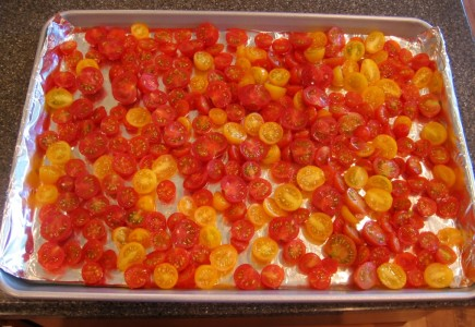 Roasted Cherry Tomato Sauce - Turn extra cherry or grape tomatoes into a delicious sauce. Easy to make. Use now or freeze for later.
