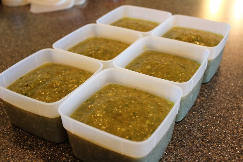 Easy Green Sauce for Freezing - Tomatillos, onions, peppers, and spices make an easy to make, delicious green sauce that's also suitable for freezing. Use as salsa or a topping for chicken enchiladas. So good!