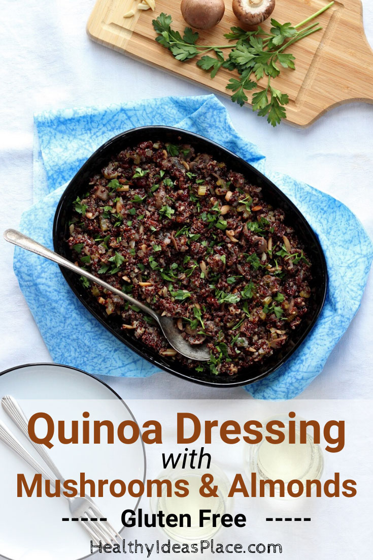 gluten free dressing in black dish on blue cloth
