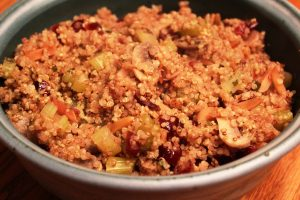 Quinoa Dressing with Mushrooms and Almonds