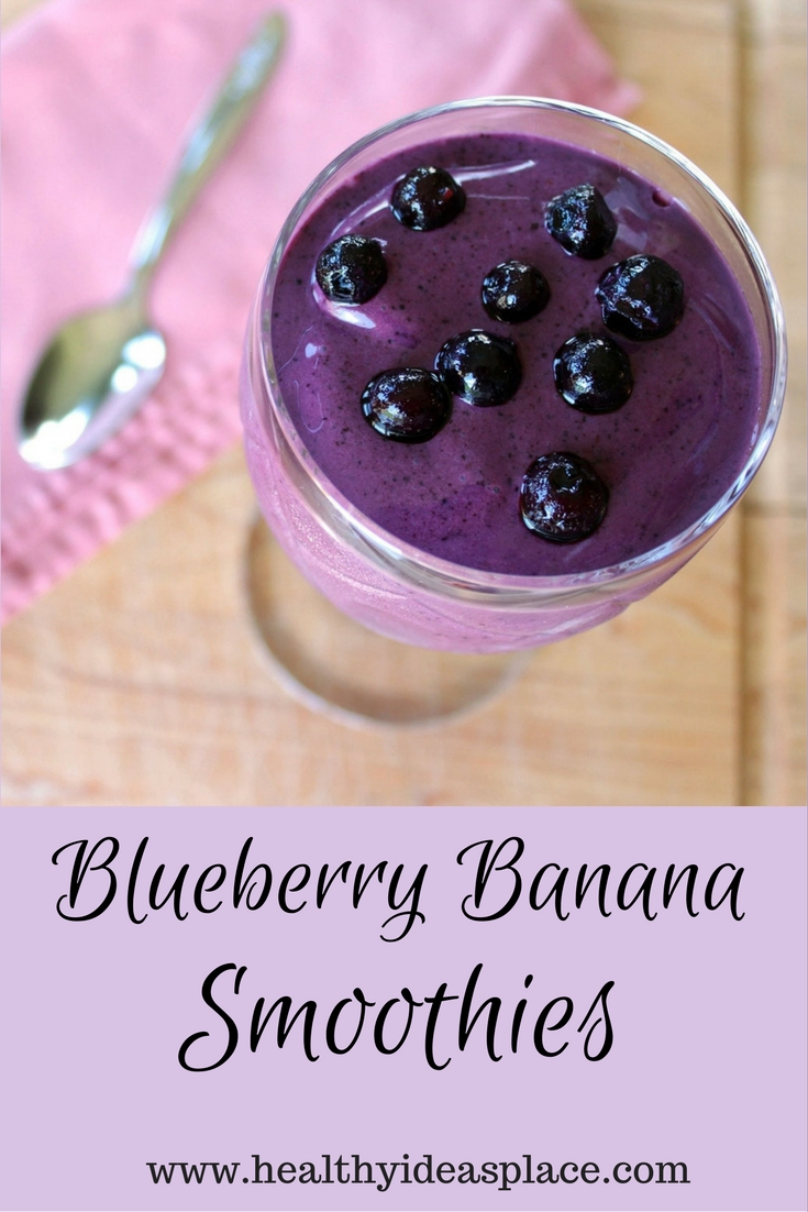 Blueberry Banana Smoothies - Healthy, easy, and quick to prepare it's a refreshing treat after a morning run or an afternoon in the hot sun.