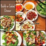 "The words ""Build a Salad Dinner"" with a collage of photos of salads and ingredients"