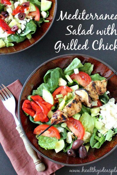 Mediterranean Salad with Grilled Chicken and Creamy Pesto Vinaigrette