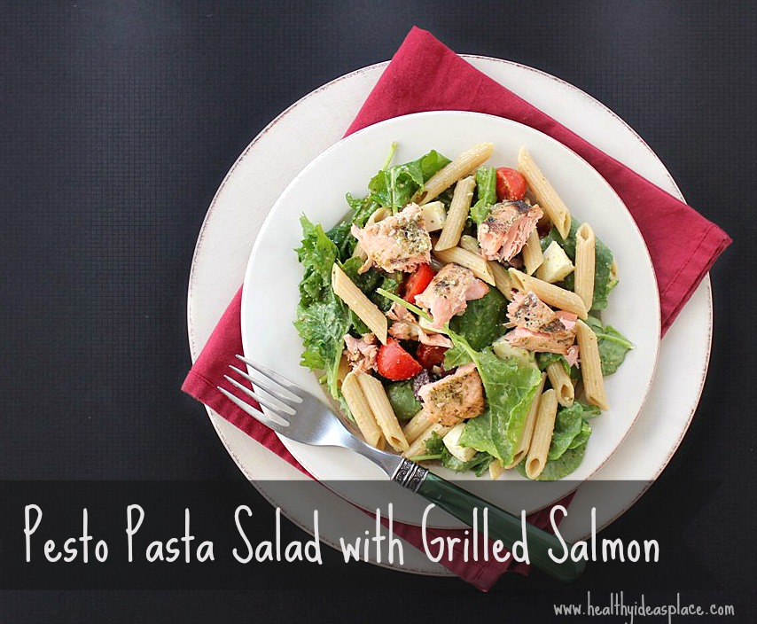 Pesto Pasta Salad with Grilled Salmon