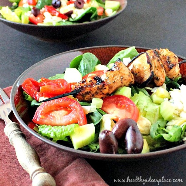 Mediterranean Salad with Grilled Chicken