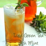 "The words ""Iced Green Tea with Mint"" under a photo of the tea"
