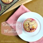 "The words ""Raspberry Muffins"" to the left of a photo of a muffin on a white plate"