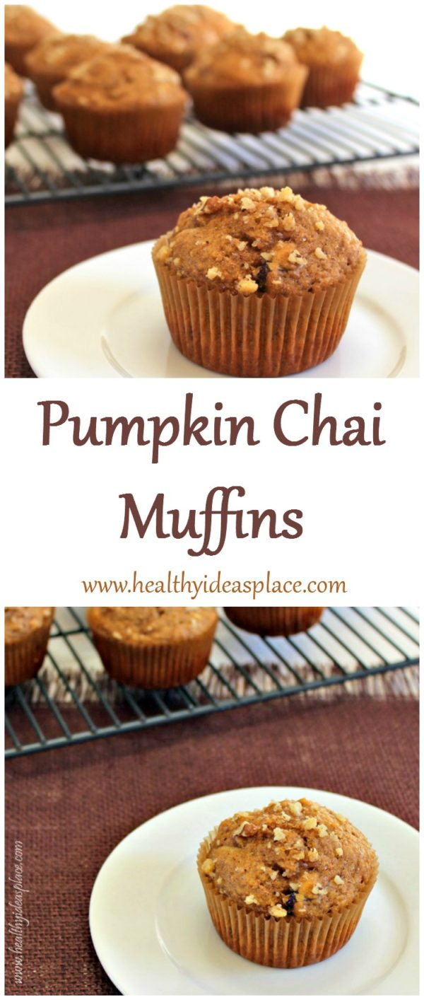 Pumpkin Chai Muffins - Pumpkin combines with warm chai tea spices for a healthier and delicious muffin. Enjoy at breakfast or for an afternoon snack.