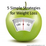 """The words """"5 Simple Strategies for Weight Loss"""" over a scale that looks like an apple"""
