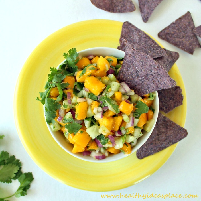 Cucumber Mango Salsa: Cucumber, mango, and red onion dance together for a delightfully refreshing and mildly spicy salsa.