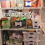"The words ""Freezer Tips and Inventory"" over a photo of an open upright freezer"