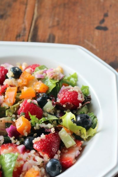 Triple Berry and Quinoa Salad with Mixed Greens