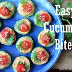 "The words ""Easy Cucumber Bites"" over a photo of them on a blue plate"