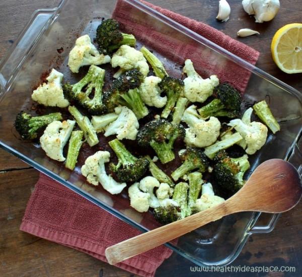 Broccoli and Cauliflower with Lemon and Garlic