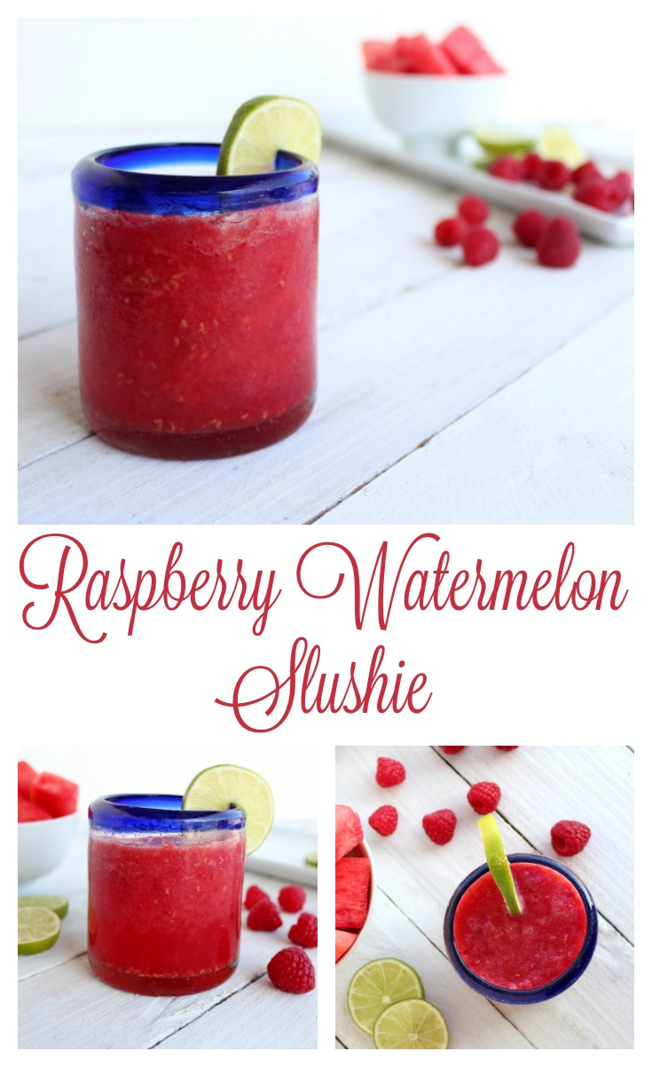 Raspberry Watermelon Slushies - Made with fresh raspberries and watermelon, these slushies are a delightfully refreshing treat on a hot summer day.
