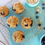 Overhead photo of five Blueberry Oat Muffins on a cooling rack