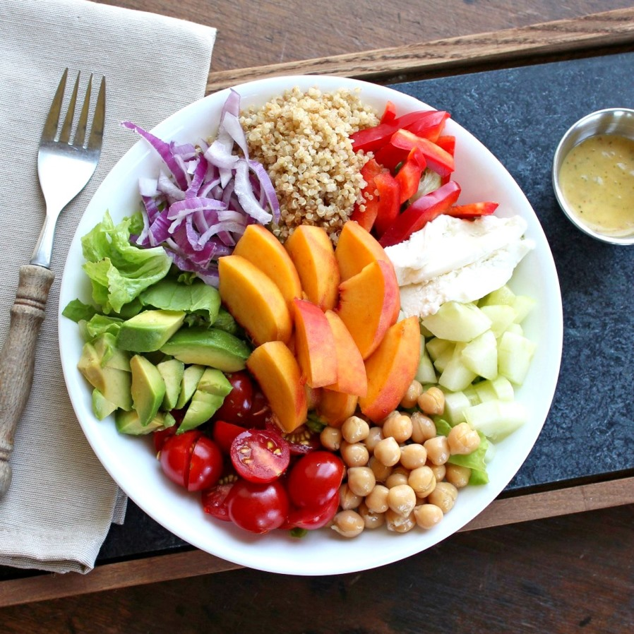 Each bite bursts with flavor and texture – sweet, savory, crunchy, creamy. Summer Salad Bowl with Peach Basil Vinaigrette is easy to make, nourishing, and a winner for lunch or supper.