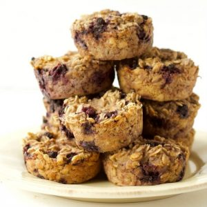 A stack of ricotta berry oatmeal cups