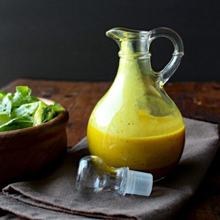 Apple Cider Turmeric Vinaigrette speaks of autumn, from its bright mustardy color to the tart, but sweet flavor of apple. This vinaigrette complements any fall salad.