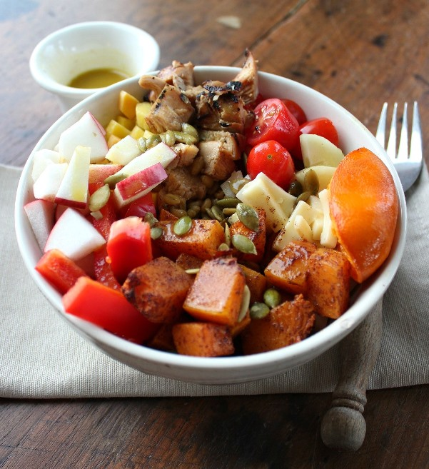 Fall Salad Bowl with Roast Butternut Squash is a delight to the palette. Filled with nourishing veggies, chicken, freekeh, and butternut squash, it's a taste of fall for a meal.