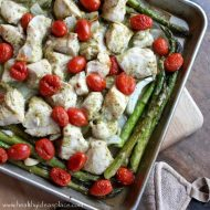 Lemon Pesto Sheet Pan Chicken with Asparagus and Tomatoes