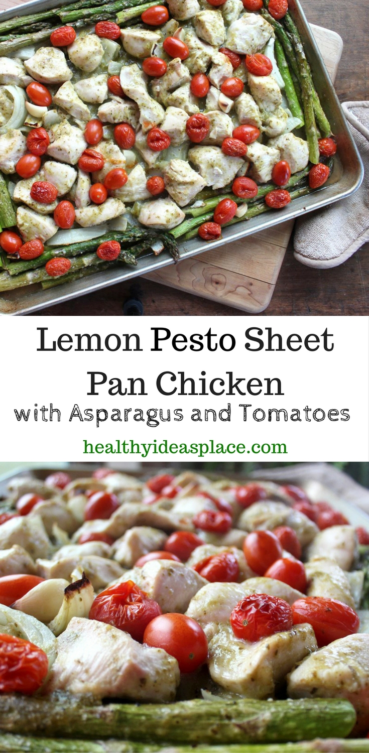 Lemon Pesto Sheet Pan Chicken with Asparagus and Tomatoes - easy to make, this sheet pan chicken is moist, tender, and full of flavor