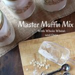 """Three jars of muffin mix with the words """"Master Muffin Mix with Whole Wheat and Oats"""""""