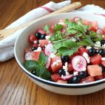 Watermelon, Blueberry, and Radish Salad with Fresh Lime and Mint Vinaigrette