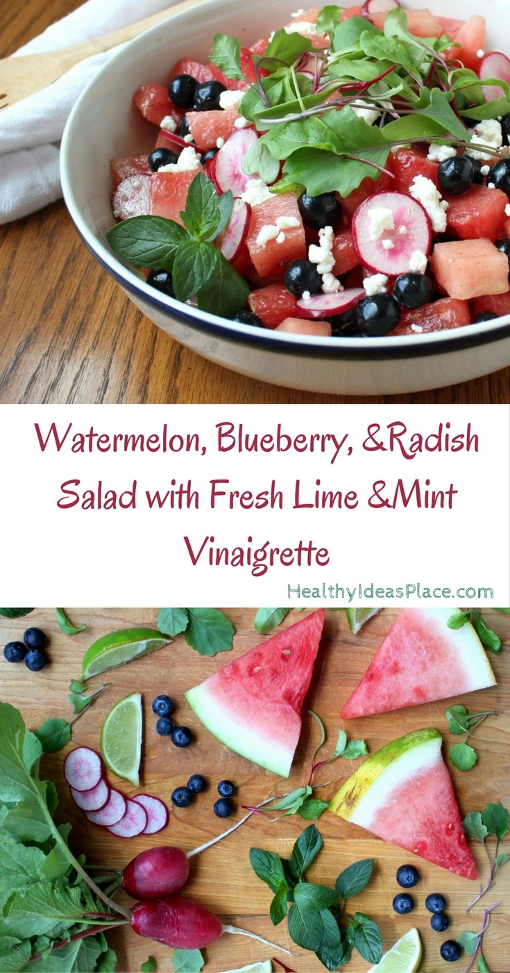 Watermelon, Blueberry, & Radish Salad with Lime & Fresh Mint Vinaigrette - Sweet watermelon and blueberries mix with fresh radishes in tangy dressing.