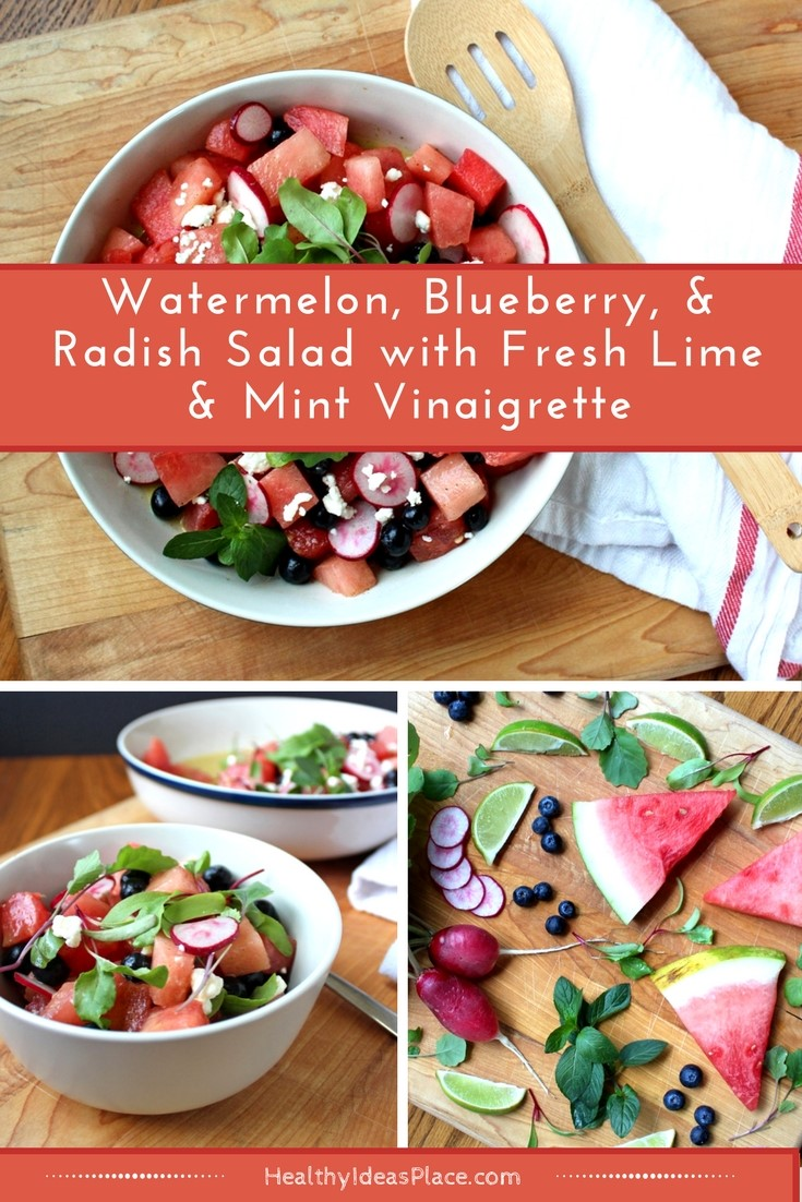 Watermelon, Blueberry, & Radish Salad with Fresh Lime & Mint Vinaigrette - Sweet watermelon and blueberries mix with fresh radishes in tangy dressing.