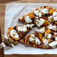 Naan Pizza with Peaches, Basil, and Fresh Mozzarella